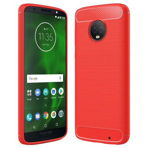 Flexi Slim Carbon Fibre Tough Case for Motorola Moto G6 Plus - Red